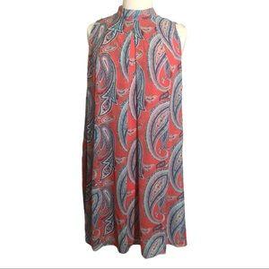 NWT Robbie Bee Aqua & Coral Pink Paisley Dress 22W